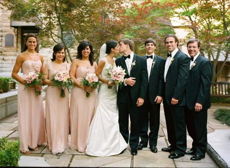 Wedding party with long blush pink bridesmaid dresses #MarieeAmi #Weddings
