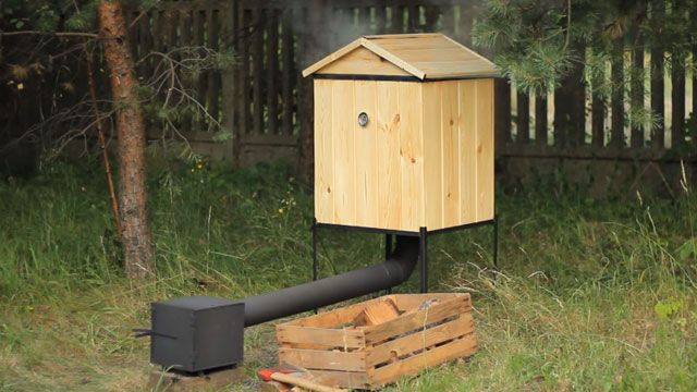 This compact and easy to maintain mini smokehouse can be made using woods like poplar or white oak.