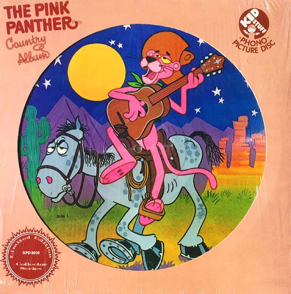 """THE PINK PANTHER COUNTRY ALBUM Kid Stuff Records Picture Disc KSS-6010 (12"""" 33 1/3 RPM / Stereo / 1982 / 24 minutes)  Original Songs: """"Panther Picker,"""" """"Bluegrass Special,"""" """"Pink Panther Country"""" by John Braden. Public Domain Songs: """"The Yellow Rose of Texas,"""" """"Swanee River,"""" """"Dixie."""""""