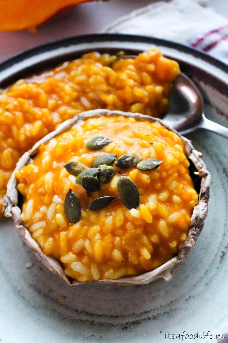 gevulde portobello met Pompoen risotto   It's a Food Life