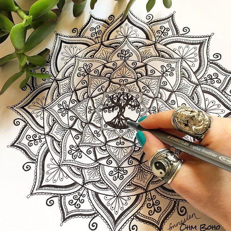 Tree Of Life Mandala whilst wearing our Ganesh Ring & Ying Yang Ring ॐ www.ohmboho.com ॐ by ohmboho