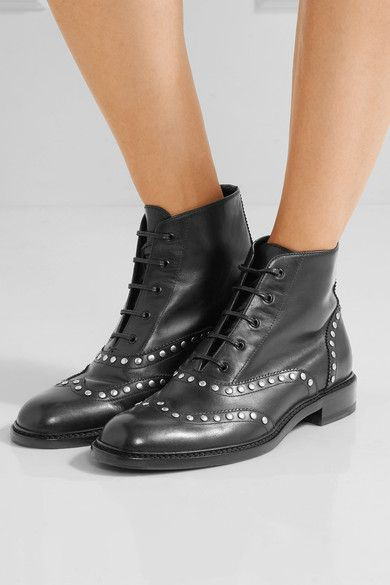 Saint Laurent - Lolita Studded Leather Ankle Boots - Black - IT36.5