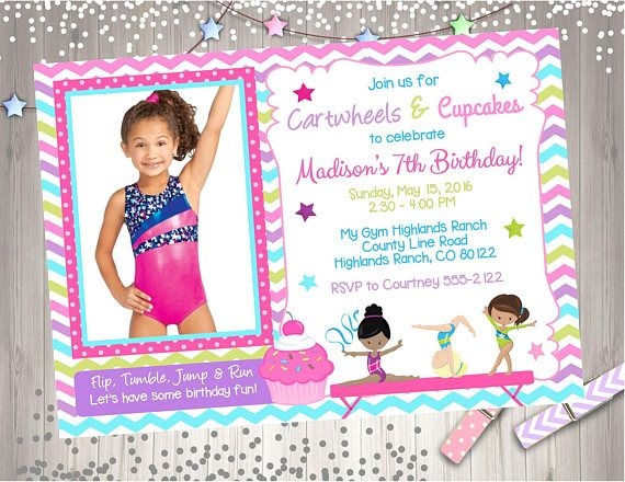 20 best gymnastics birthday images on pinterest birthday cartwheels and cupcakes birthday invitation invite cupcakes and cartwheels gymnastics party invite pink purple chevron photo picture diy whats included stopboris Image collections