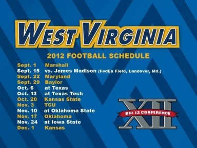 2012 WVU Football Schedule!!!!! Everyone needs this!