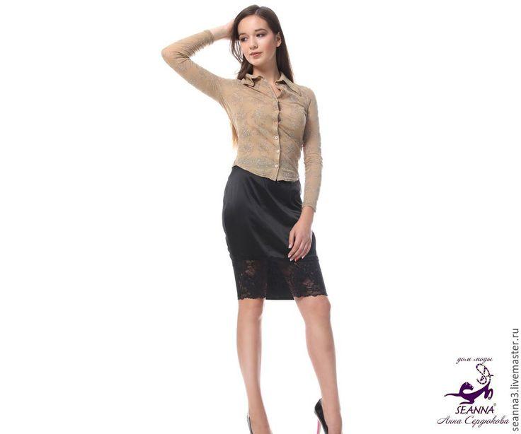 """Купить Блузка стрейч из трикотажной красивой ткани """"Золотой блеск"""" - бежевый, блузка, блузка золотая"""