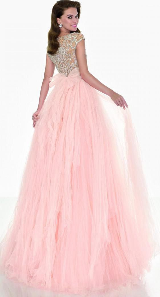 $132.89-Eelgant Beaded Tulle Prom Dress/Evening Dress with Sleeves. http://www.ucenterdress.com/a-line-cap-sleeve-scoop-neck-beaded-tulle-prom-dress-pMK_303610.html.  Shop for affordable evening gowns, prom dresses, white dresses, party dresses for women, little black dresses, long dresses, casual dresses, designer dresses, occasion dresses, formal gowns, cocktail dresses . We have great 2016 Evening Gowns on sale now. #evening #gowns