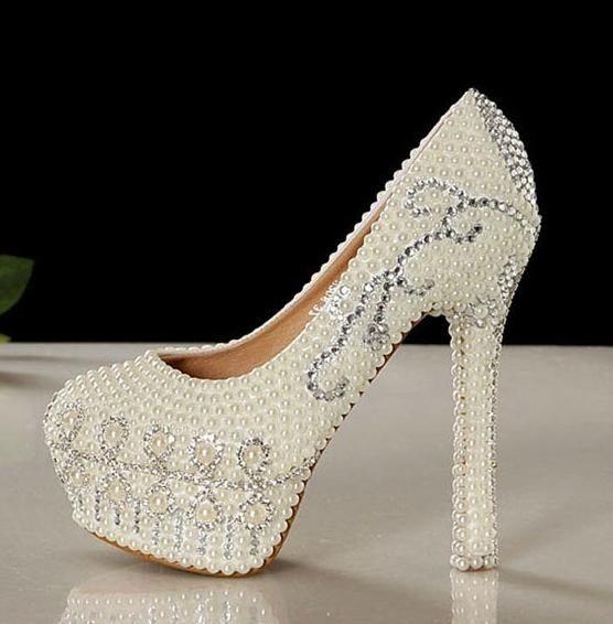 Elegant Pearls White High Heel Wedding Shoes