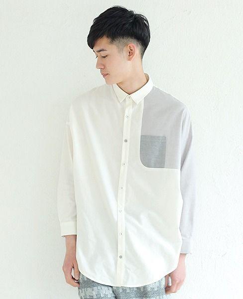 左胸に切り替えの入ったドルマンスリーブのシャツ。所々素材や色がかわっていてポイントになっています。 【素材】全体:コットン93%, ウール7% / ポケット:コットン100% 【カラー】ivory / grey 【サイズ】3 【モデル】keisuke asano T178 B87 W71 H90 着用サイズ 3