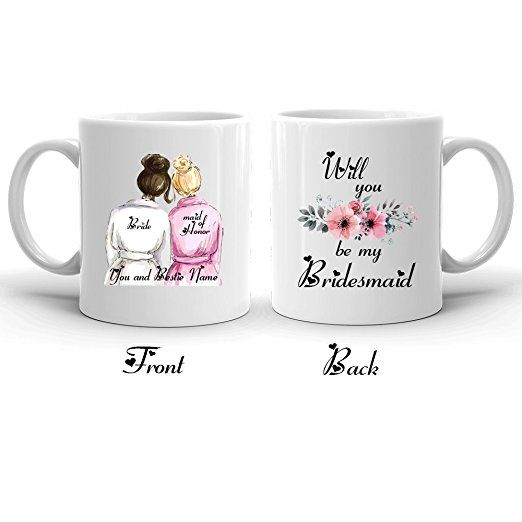 Bridesmaid Coffee Mug- Will You Be My Bridesmaid ? Maid of Honor gift, Personalized Name Bestie Mug, Bridal Shower Gift, Best Friends Gift, Wedding Party Gifts, Bridesmaid Proposal, Friendship Gift