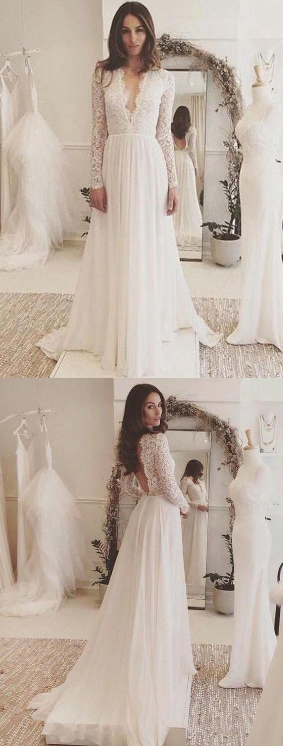 Long Sleeve Wedding Dress Chiffon Lace VNeck Wedding Dress