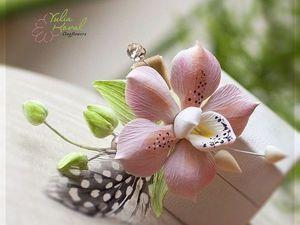 украшение с орхидеей из полимерной глины. - Ярмарка Мастеров - ручная работа, handmade
