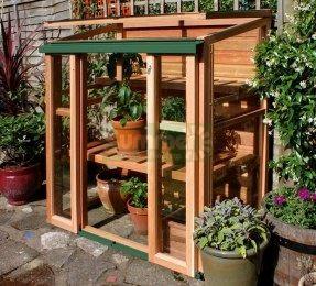 Cedar Lean To Greenhouse 738 - Double Door, Toughened Glass