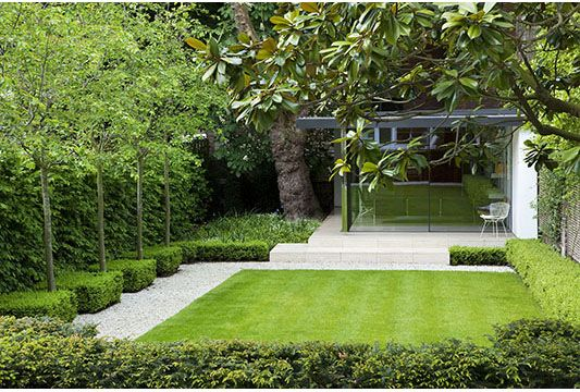 Lawn and boxwoods and not much else. Very clean and classy -  and a small mowing area to maintain!  Gardenlink Ltd - Image library