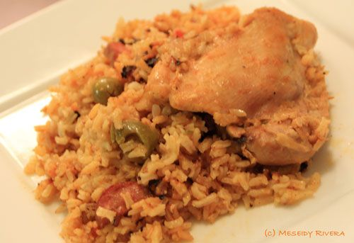 Arroz con pollo. Had a little trouble. Need to add less pepper and salt.  Make sure it doesnt burn on the bottom. And figure out how when to stir and when to add the water. Other than that it came out good.