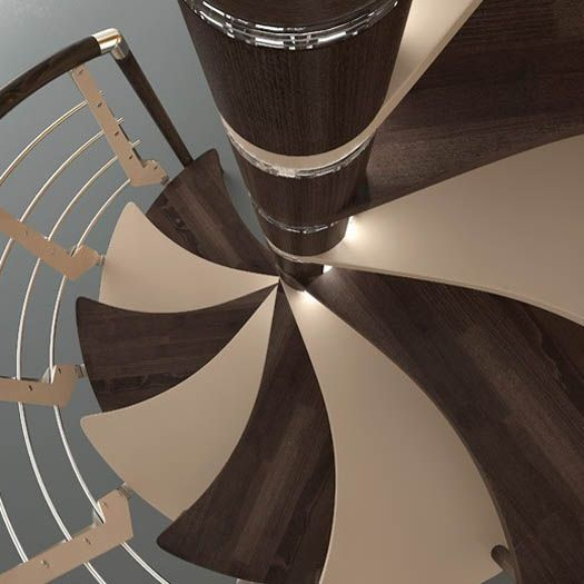 This Spiral Staircase Features Sinuous Shaped Treads,  Anti Slip/anti Scratch Painted Alternate Treads, Multiblade Balusters, And  A Timed Led Lighting System ... Awesome Ideas