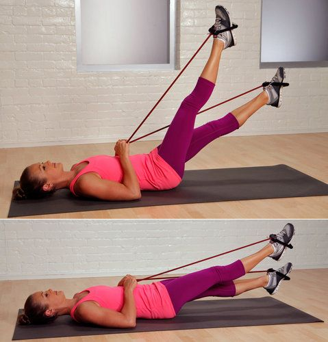 Flutter Kicks With Resistance Band. Different ways to tone abs without all those crunches!