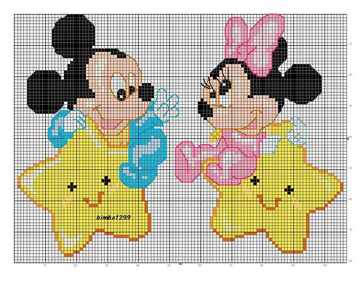 baby minni e mickey mouse a punto croce | Punto cruz | Pinterest ...