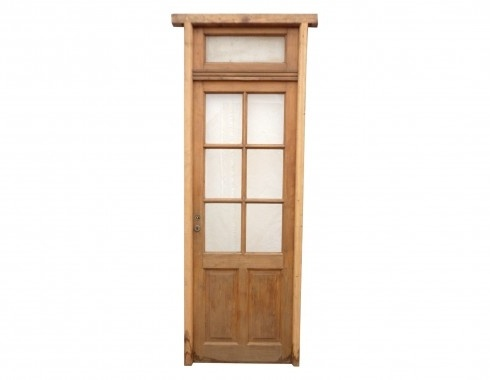 Antique Single Patio Door Made From Mahogany, A Total Of Seven Windows  Included With Transom