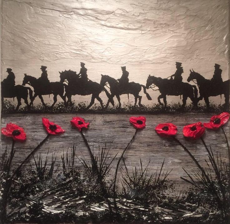 Poppy Art Painting Poppies Horse Picture Military War Remembrance Artist Jacqueline Hurley