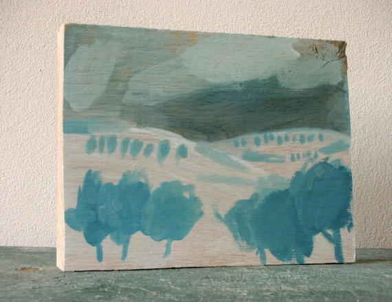 Winter landscape  tempera painting on oak by ConstructiveLaziness, €100.00