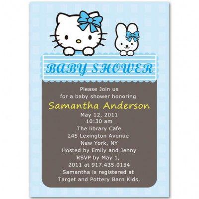 Blue Hello Kitty Baby Boy Shower Invitations Bs073