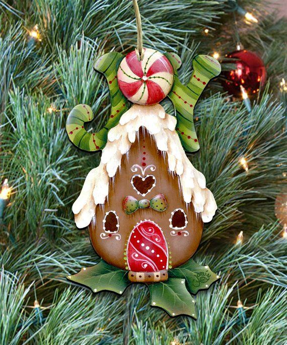 Christmas Ornaments Joy Gingerbread House Tree Ornament Etsy Christmas Ornaments Holiday Tree Decorations Christmas Crafts Diy Projects