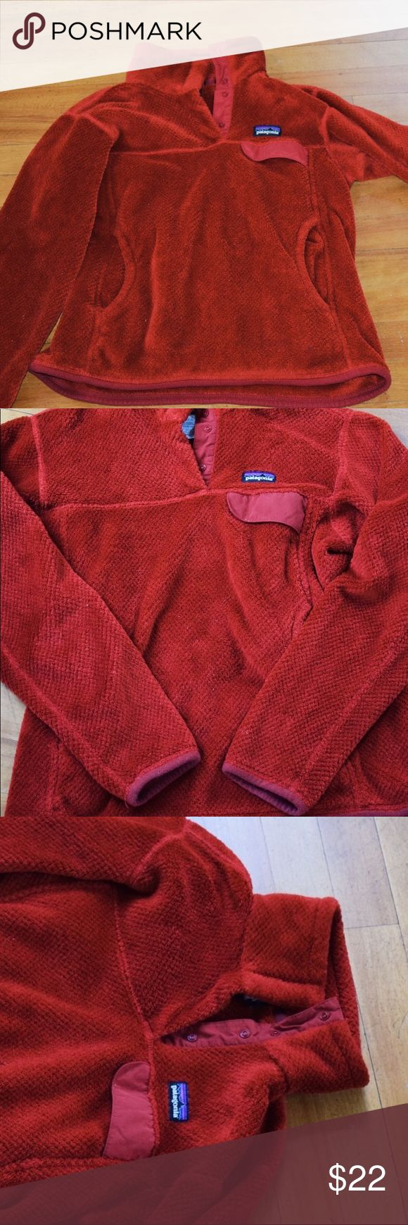 Patagonia Snap-Up Fleece Pullover Great condition with a front pocket and snap up collar. The color is a tomato-red. Very soft and warm!! 💫 Patagonia Jackets & Coats