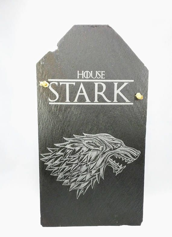 Laser Etched Game of Thrones House Stark Slate Shingle. The Shingle These are repurposed slate shingles from a very old house, I am not sure of the age but you can see square nail holes in many of these.Looking up the history of Square nail usage seemed to stop around the end of the