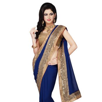 Dark Blue Faux Georgette Saree with Readymade Blouse