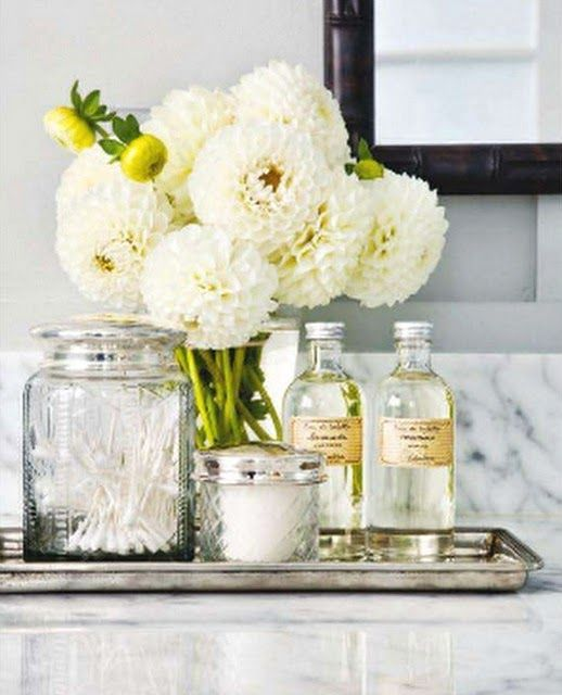 Bath Decor - glass bottles, jars & vase - use cream with black label, vintage-looking diy*