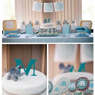 baby boy shower dessert table