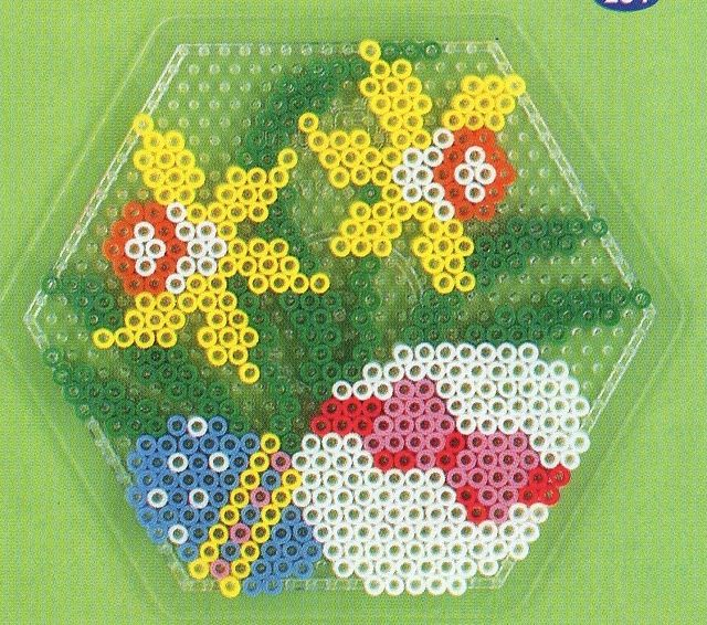 Easter eggs and flowers hama perler pattern.