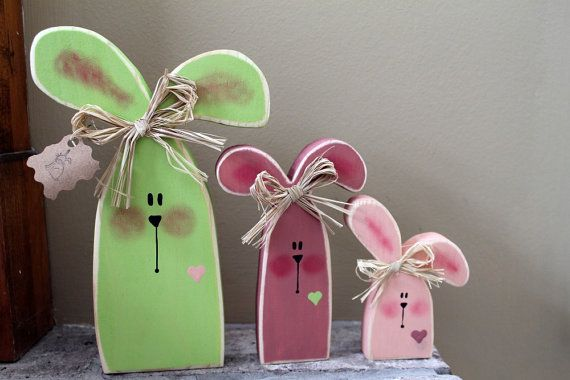 Colorful Wooden Bunny Trio by lauraswoodshed on Etsy, $14.00