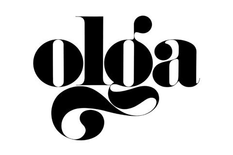 The font is big and bold. It gives the word power, and this case, the name Olga, personality. The letter G is exaggerated, giving the impression that whoever has that name is someone bold and over the top, and doesn't follow societies rules, in the same way the letter G doesn't.