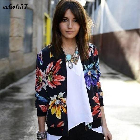 Women Coat Echo657 Hot Sale Fashion Women Long Sleeve Printed Zipper Suit Jacket Coat Outwear Nov 25