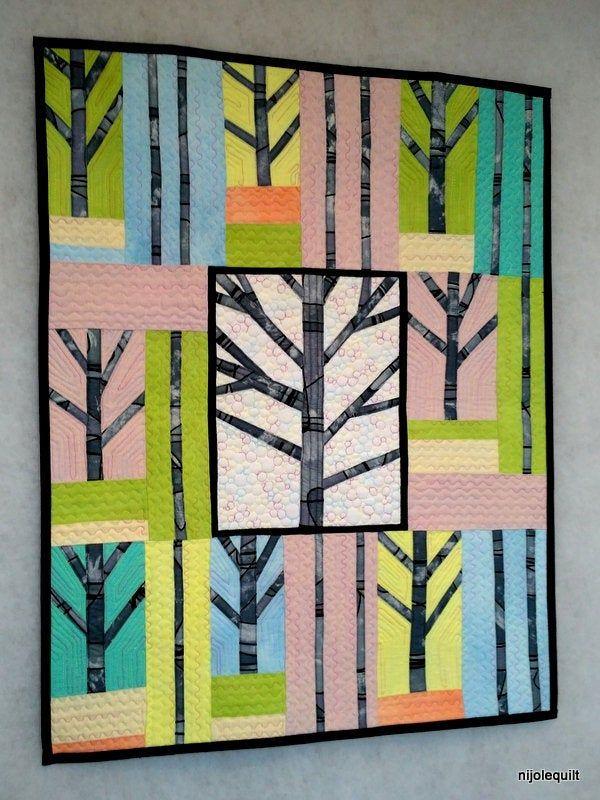 Modern Quilt Abstract Art Wall Hanging Gift For Three Etsy In 2020 Abstract Art Quilt Forest Quilt Hanging Wall Art