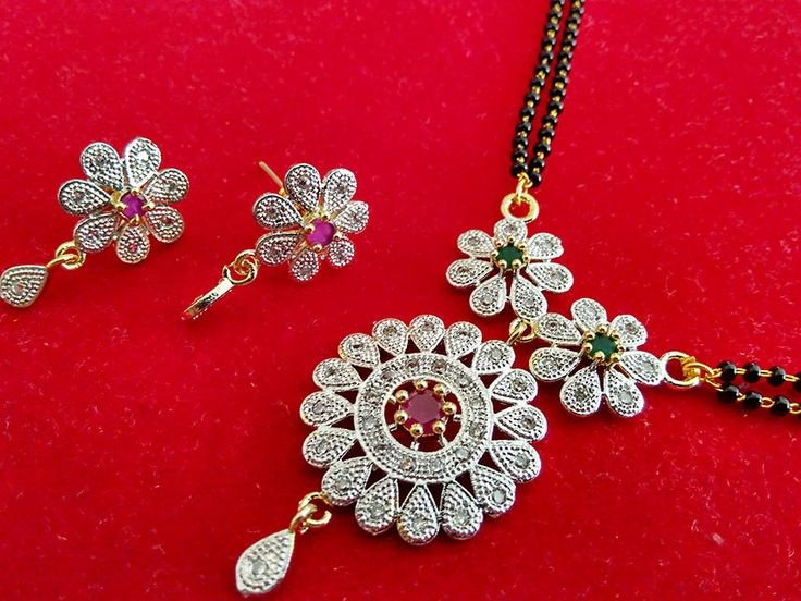 22k gold plated kundan mangalsutra red mai with balck beads double chian