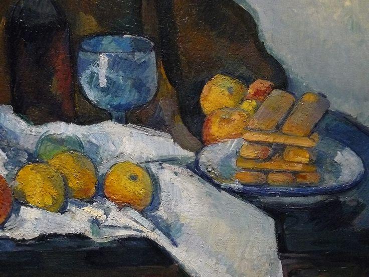 """CEZANNE,1877-79 - Le Buffet - Still Life, The Buffet (Budapest) - Detail -e  -  TAGS : details détail détails detalles painting paintings peinturepaintings """"Paul Cézanne"""" """"Paul Cezanne"""" Cezanne Cézanne """"Still life"""" """"Nature morte"""" Budapest Hongrie Hungary """"Nature morte"""" citrons citron lemon lemons orange oranges nappe """"nappe blanche"""" """"white cloth"""" chiffon cloth bleu blue tasse cup sucrier """"sugar bowl"""" buffet knife fruit food pomme apple apples glass verre dessert biscuits"""