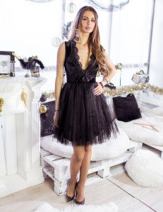 Baby Doll Black Tulle Dress <3