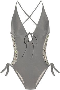 Sparkle hand-embellished cutout swimsuit