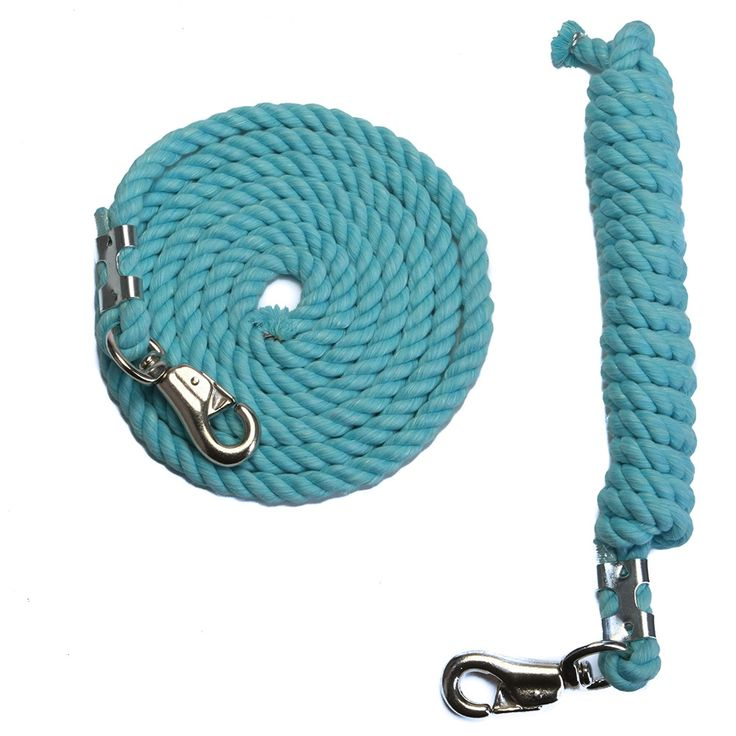 FMS 10 Foot 1/2-Inch Aqua Blue Cotton Rope Horse Lead with Bolt Snap or Bull Snap (1 or 2 Pack)