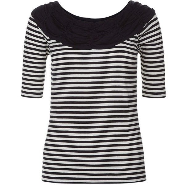 Hobbs Bess Bardot Top, Navy/Ivory ($63) ❤ liked on Polyvore featuring tops, print top, stripe top, navy blue top, ivory top and nautical striped top
