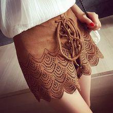 2016 da American Apparel Vintage mulheres de cintura alta Shorts mini da camurça do falso couro marrom de camurça preto curto oco out calças(China (Mainland))