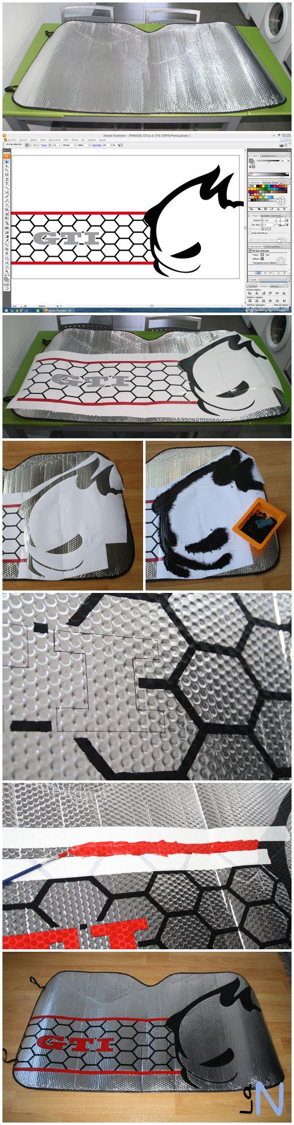 Parasol personalizado con logotipo de GTI, rejilla panel de abeja y Fast. Si quieres ver la explicación del paso a paso, visita: http://laneuronadelmanitas.blogspot.com.es/2014/05/parasol-de-coche-personalizado.html