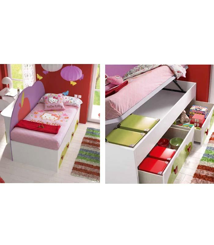 Great Cama con arc n y cajones ideal para las habitaciones con poco espacio de los mas j venes