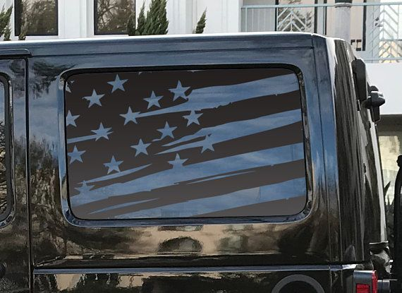 a78897fe Distressed American Flag Decal Set for JKU Jeep Wrangler Rubicon Hardtop  Windows Stars and Stripes - Patriotic flags 4 door Accessories J3G