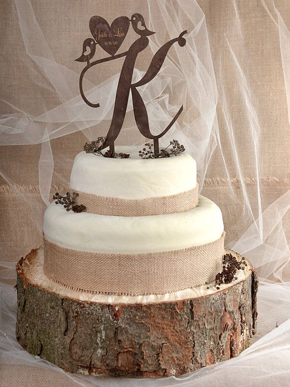 This beautiful cake topper is made from wood. Perfect to outdoor rustic wedding ~ Don't forget personalized napkins for all of your wedding events!!!! www.napkinspersonalized.com