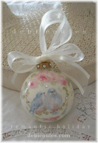 Bluebird hand painted ornament is available at http://www.debicoules.com/category_40/Holiday-Ornaments.htm Hope you catch one before they fly away!