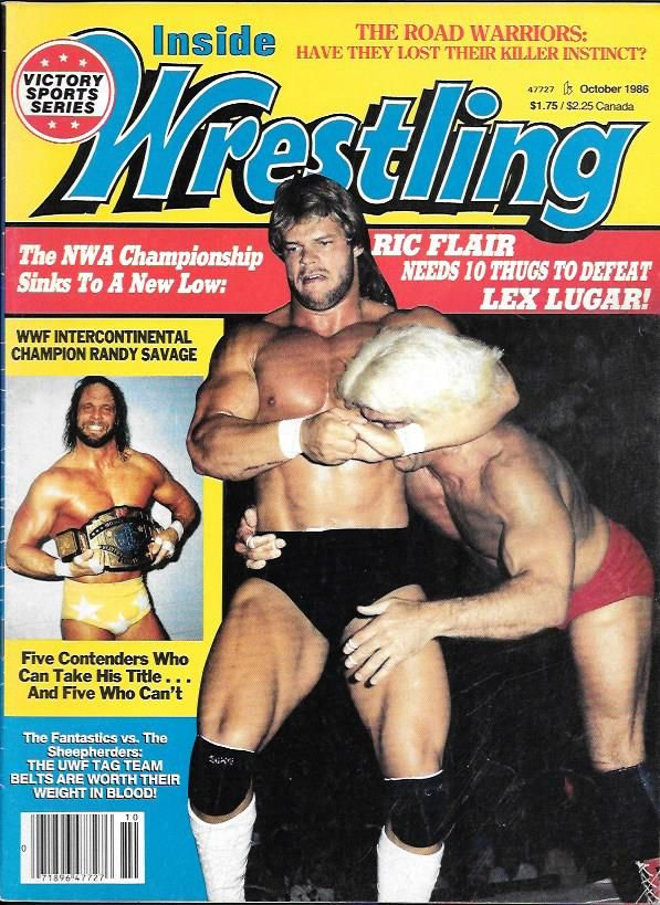 Pro Wrestling magazine Inside Wrestling October 1986. Lex Luger, Ric Flair and Randy Savage on the cover.