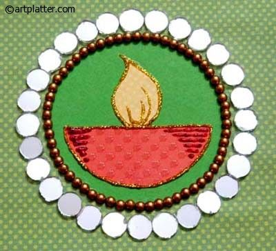Handmade Diwali Card with a Diya Center • Art Platter